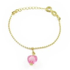 Pulseira Infantil Coração Rosa Semi joias Atacado  -  PL1511