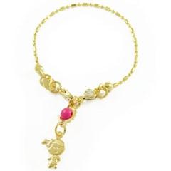 Pulseira Infantil Menina e Pedrinha Rosa Semi joias Atacado  -  PL1203