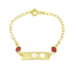 Pulseira Infantil Zircônia Vermelha Semi joias Atacado  -  PL1590