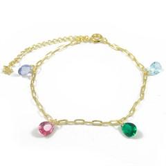 Pulseira Zircônias Coloridas Semi joias Atacado  -  PL1635