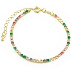 Pulseira Zircônias Coloridas Semi joias Atacado  -  PL1614