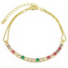 Pulseira Zircônias Coloridas Semi joias Atacado  -  PL1619
