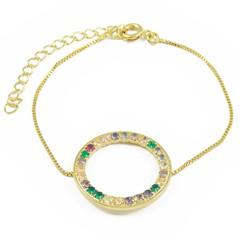 Pulseira Zircônias Coloridas Semi joias Atacado  -  PL1653
