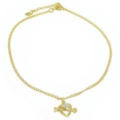 Tornozeleira Coração Cupido Semi joias Atacado  -  TOR253