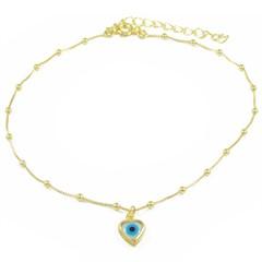 Tornozeleira Coração Olho Grego e Bolinhas Semi joias Atacado  -  TOR266