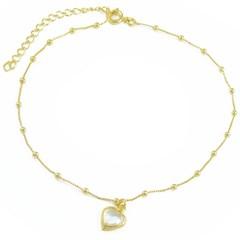 Tornozeleira Coração Cristal e Bolinhas Semi joias Atacado  -  TOR259