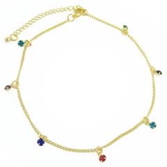 Tornozeleira Strass Colorido Semi joias Atacado  -  TOR261